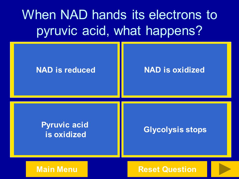 When NAD hands its electrons to pyruvic acid, what happens