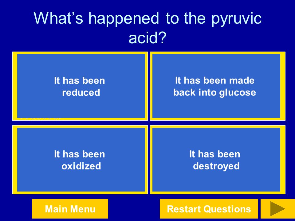 What's happened to the pyruvic acid