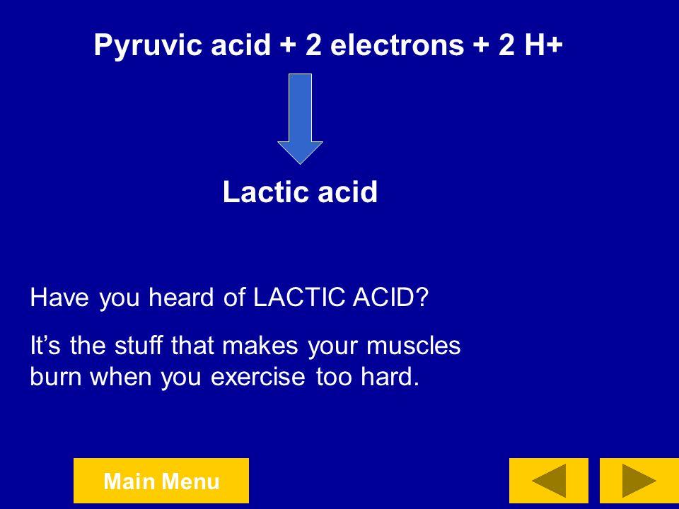 Pyruvic acid + 2 electrons + 2 H+
