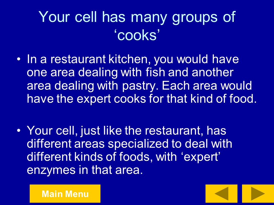 Your cell has many groups of 'cooks'