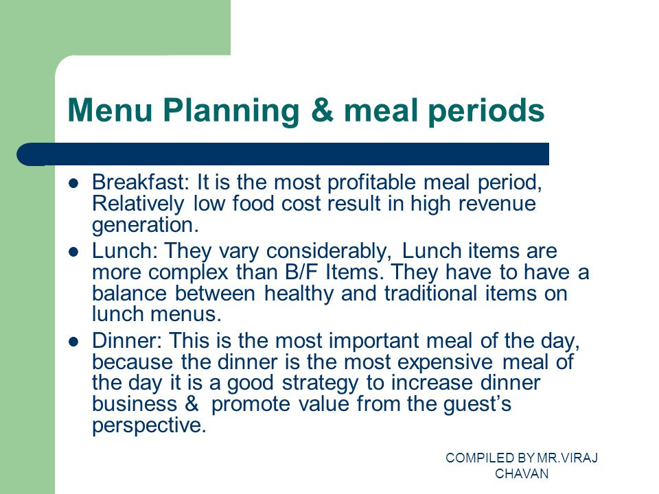 Menu Planning & meal periods