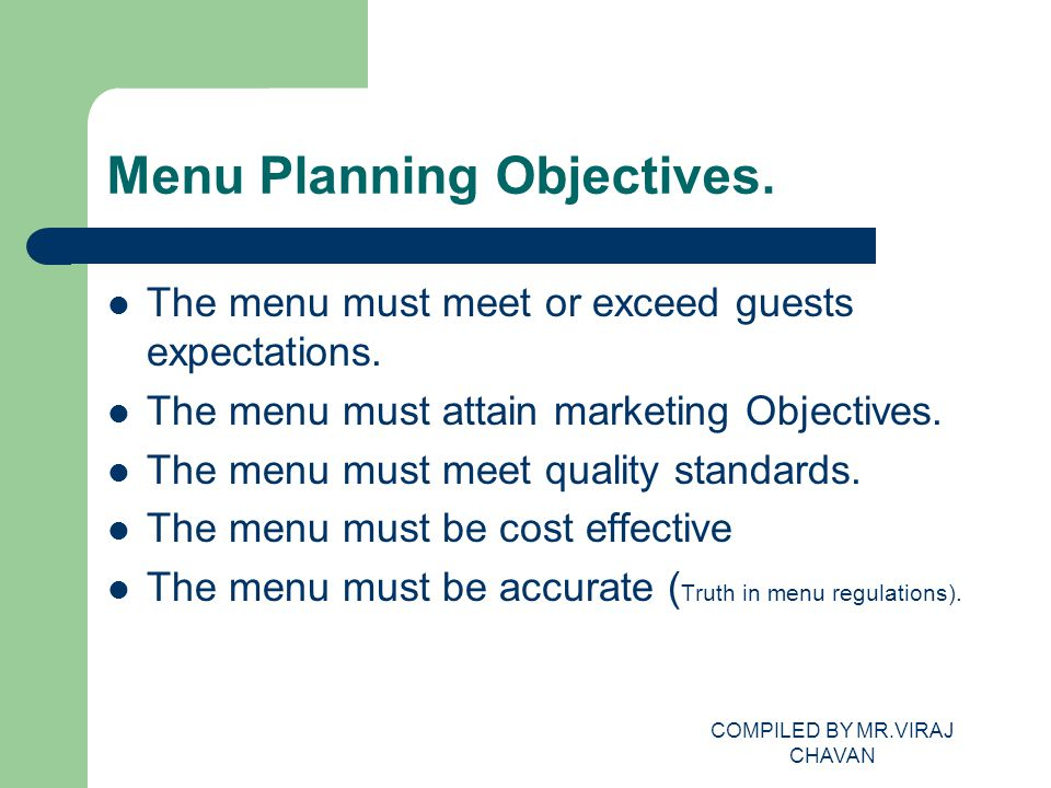 Menu Planning Objectives.