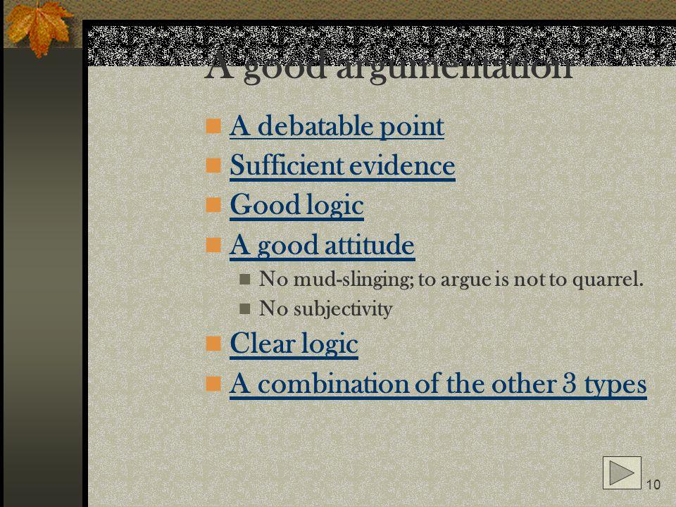 A good argumentation A debatable point Sufficient evidence Good logic