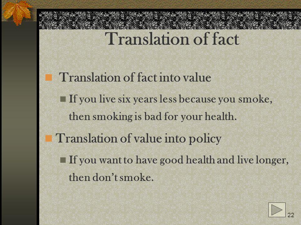 Translation of fact Translation of fact into value
