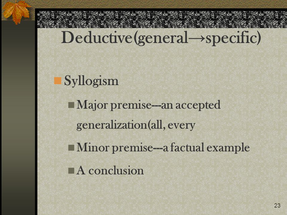 Deductive(general→specific)