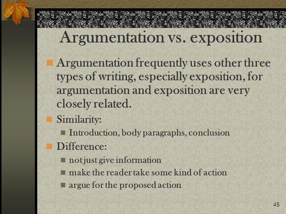 Argumentation vs. exposition
