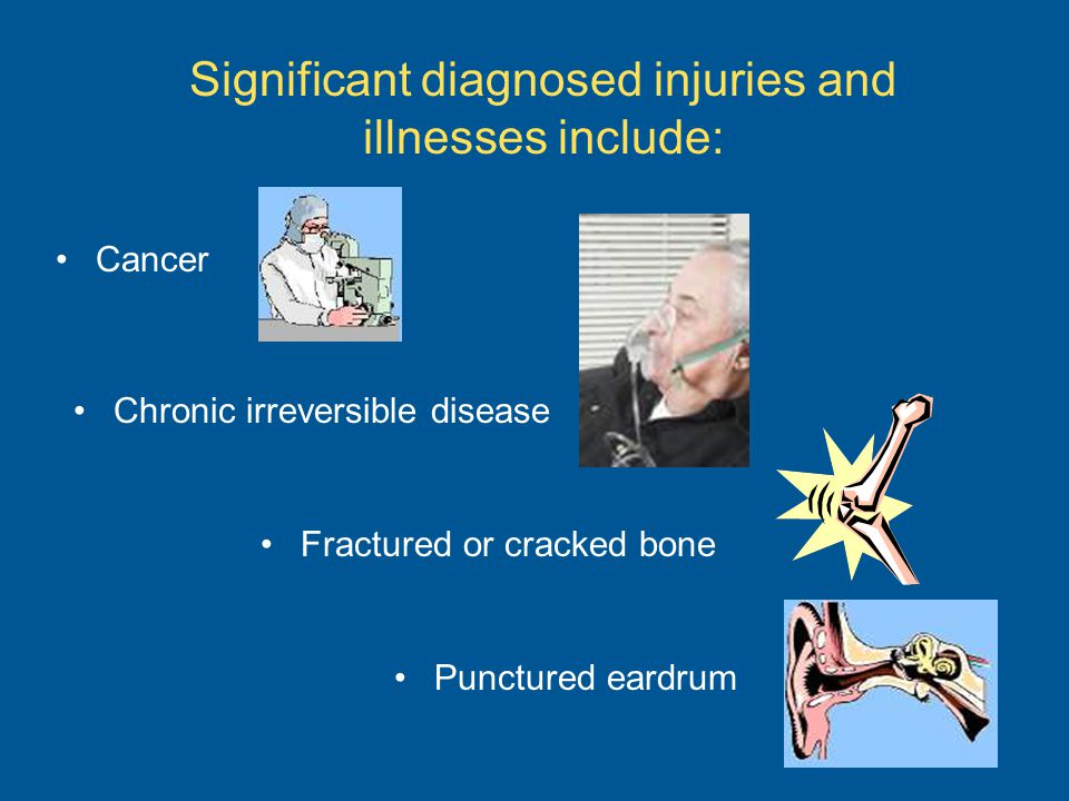 Significant diagnosed injuries and illnesses include: