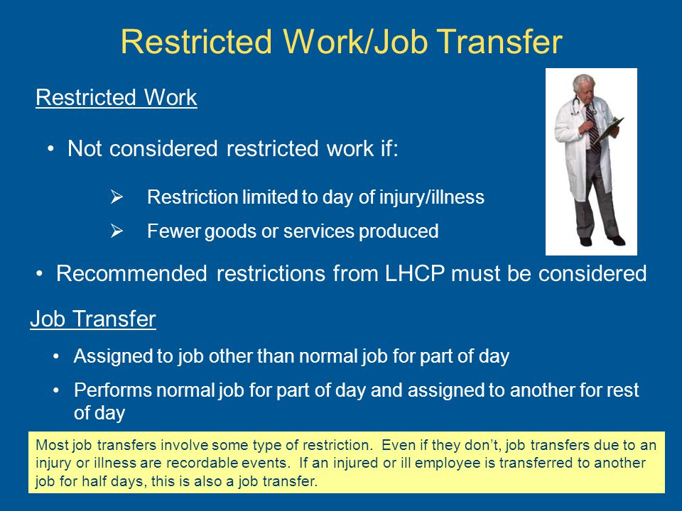 Restricted Work/Job Transfer