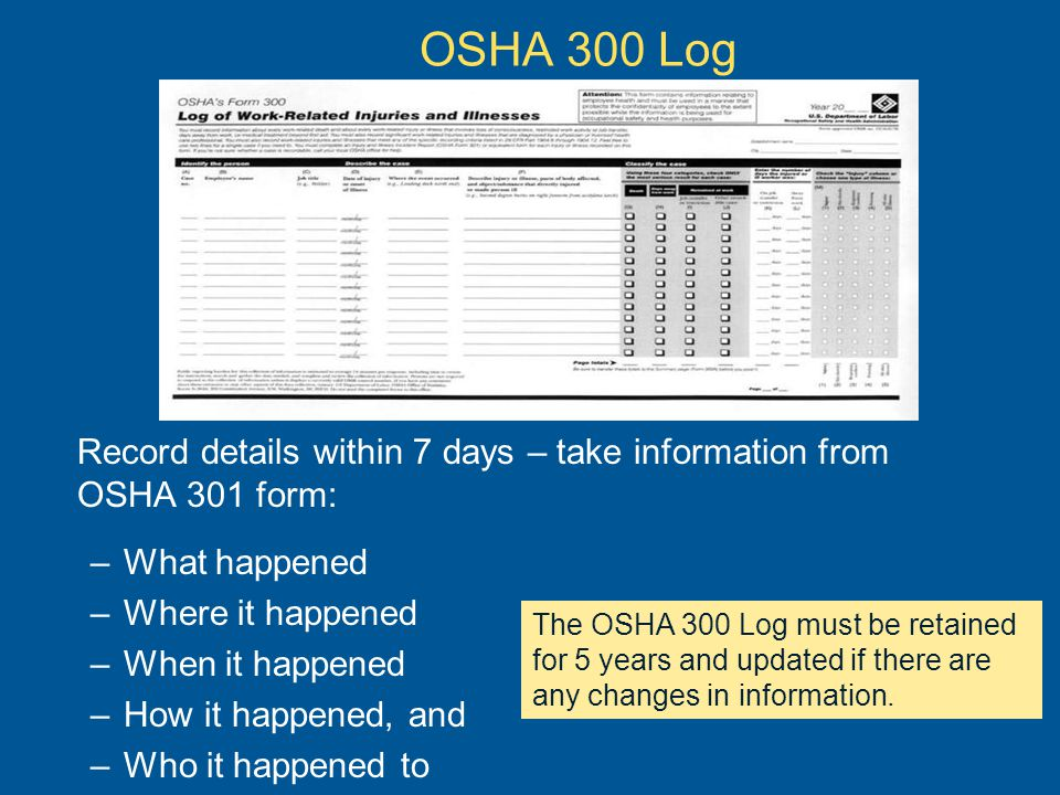 OSHA 300 Log Record details within 7 days – take information from OSHA 301 form: What happened. Where it happened.