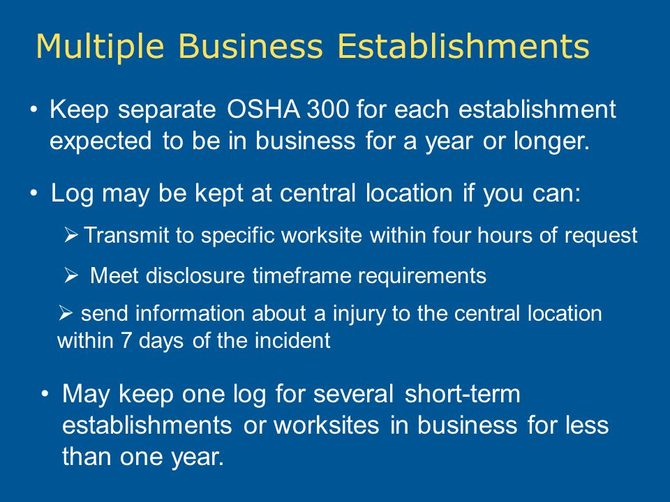 Multiple Business Establishments