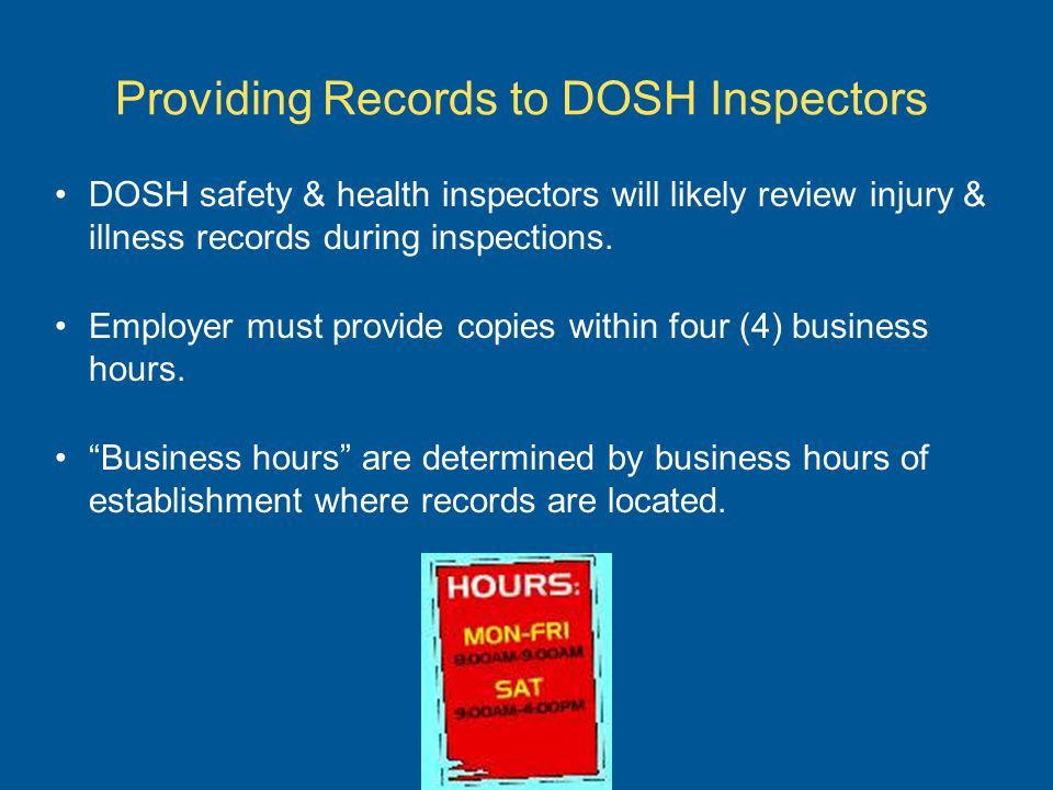 Providing Records to DOSH Inspectors