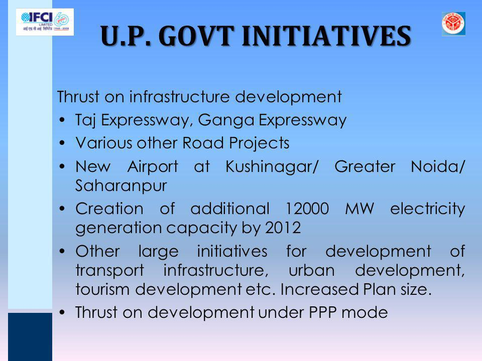 U.P. GOVT INITIATIVES Thrust on infrastructure development