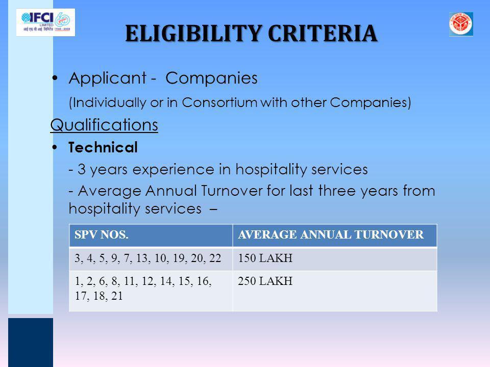 ELIGIBILITY CRITERIA Applicant - Companies