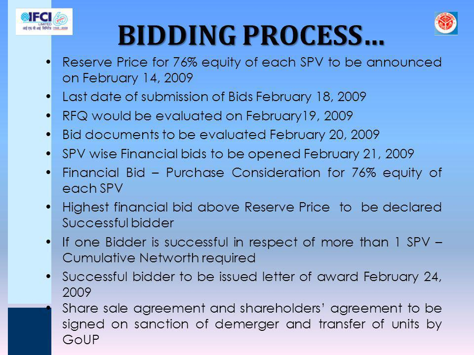 BIDDING PROCESS… Reserve Price for 76% equity of each SPV to be announced on February 14, 2009. Last date of submission of Bids February 18, 2009.