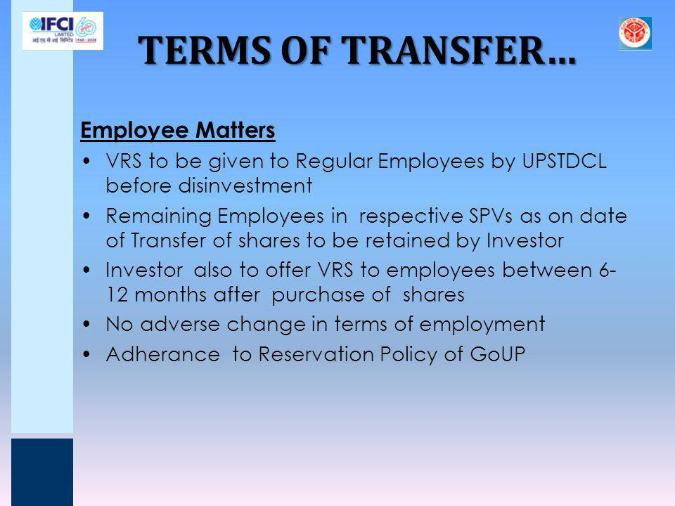 TERMS OF TRANSFER… Employee Matters