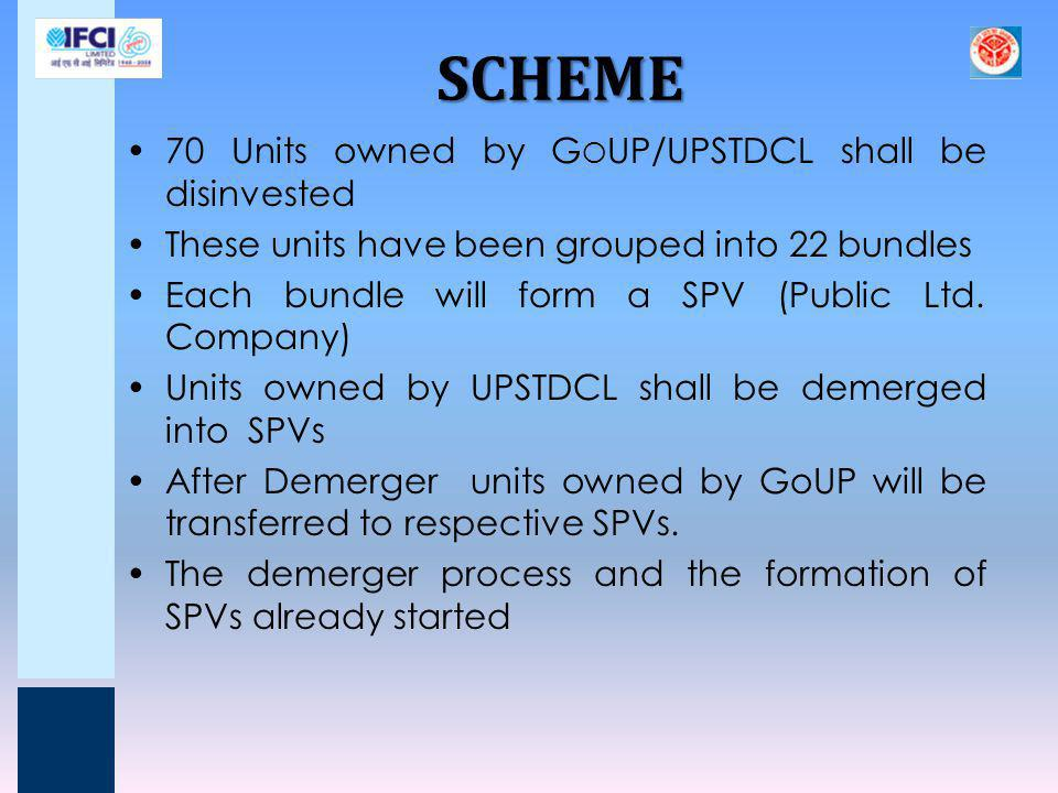 SCHEME 70 Units owned by GoUP/UPSTDCL shall be disinvested
