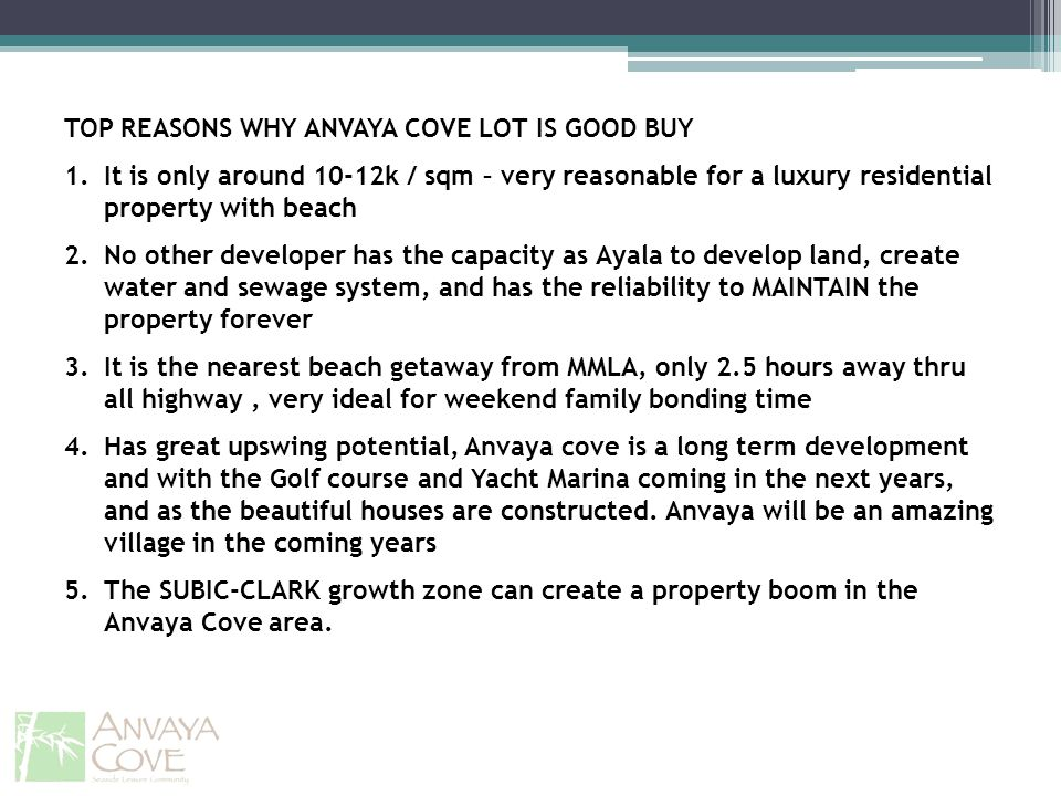 TOP REASONS WHY ANVAYA COVE LOT IS GOOD BUY