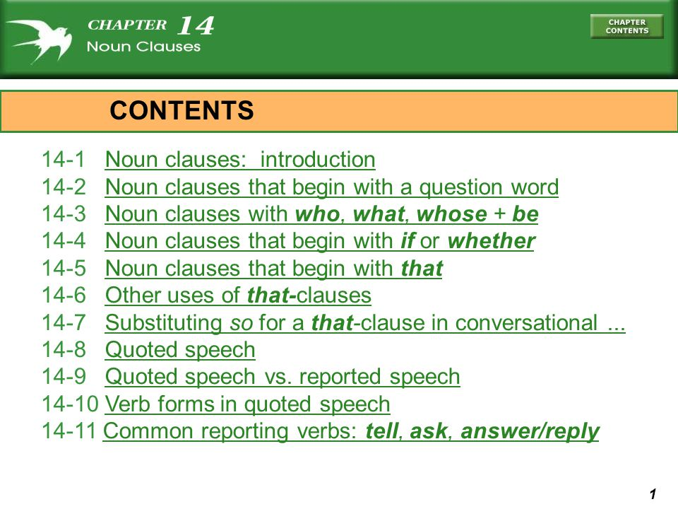 CONTENTS 14-1 Noun clauses: introduction