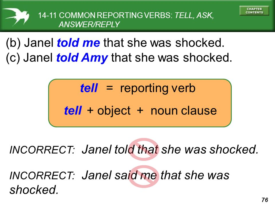 (b) Janel told me that she was shocked.