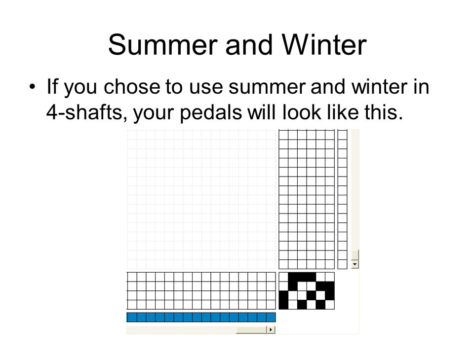 Summer and Winter If you chose to use summer and winter in 4-shafts, your pedals will look like this.