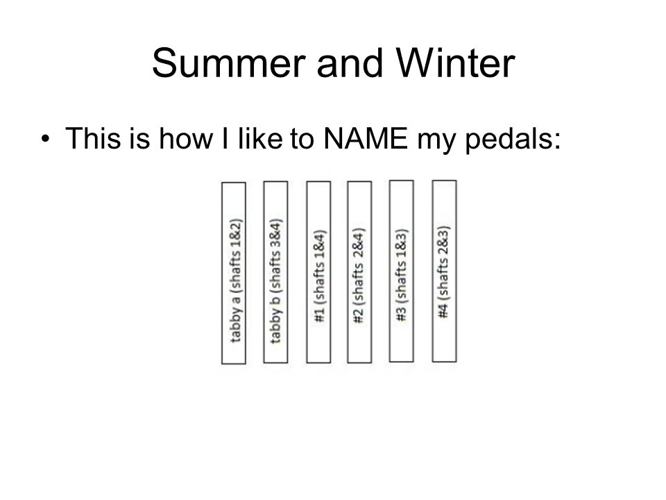 Summer and Winter This is how I like to NAME my pedals: