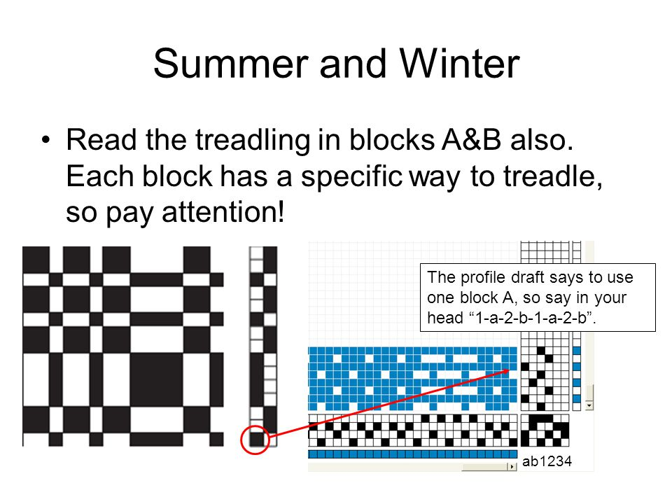 Summer and Winter Read the treadling in blocks A&B also. Each block has a specific way to treadle, so pay attention!