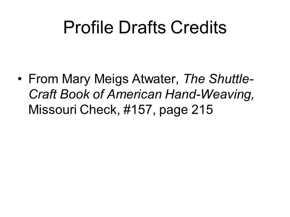 Profile Drafts Credits