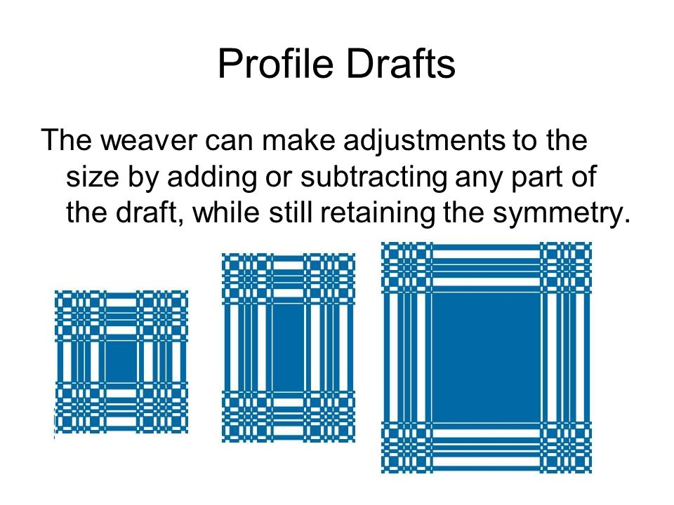 Profile Drafts The weaver can make adjustments to the size by adding or subtracting any part of the draft, while still retaining the symmetry.