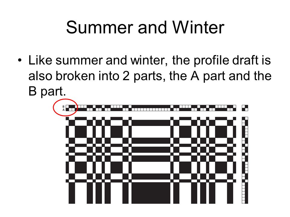 Summer and Winter Like summer and winter, the profile draft is also broken into 2 parts, the A part and the B part.