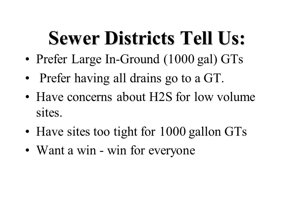 Sewer Districts Tell Us: