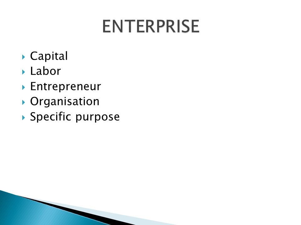 ENTERPRISE Capital Labor Entrepreneur Organisation Specific purpose