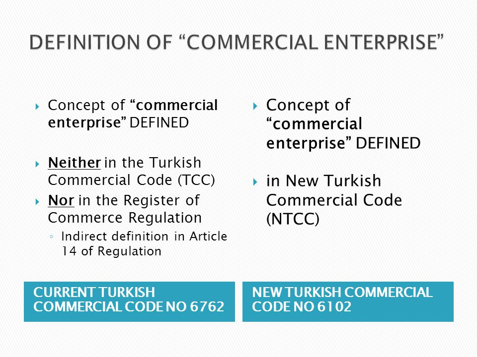 DEFINITION OF COMMERCIAL ENTERPRISE