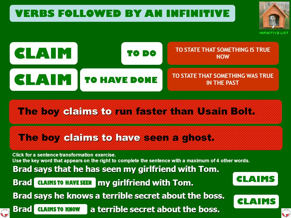 CLAIM CLAIM VERBS FOLLOWED BY AN INFINITIVE