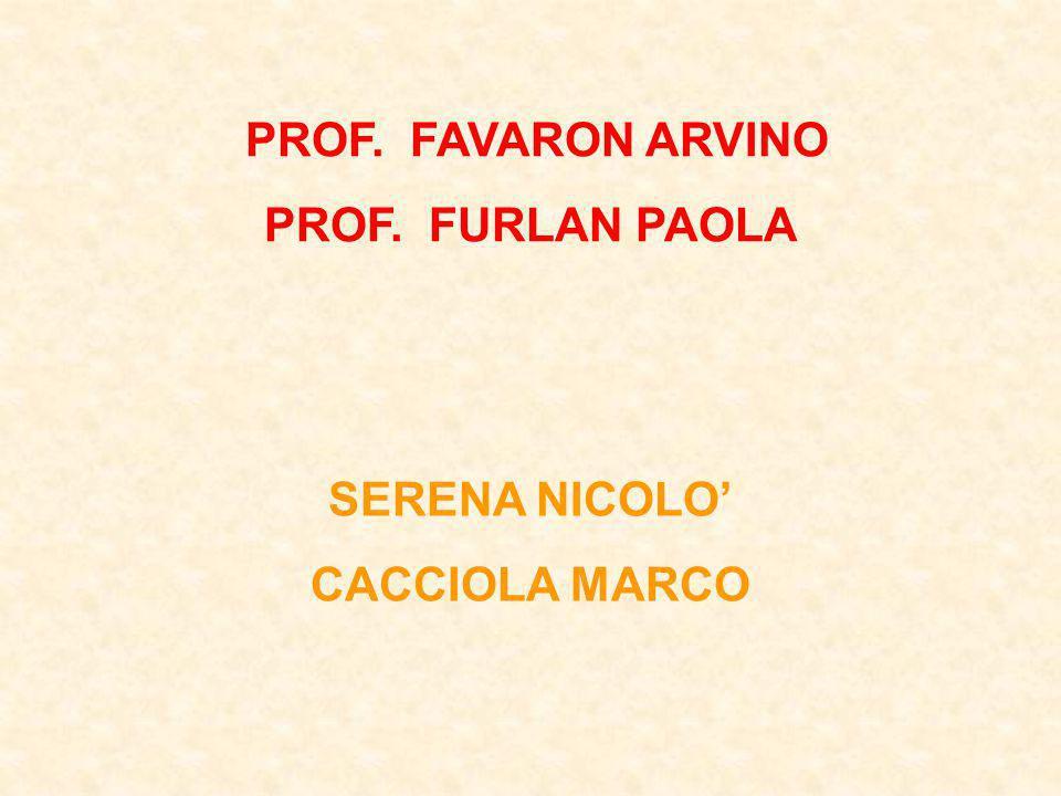 PROF. FAVARON ARVINO PROF. FURLAN PAOLA SERENA NICOLO' CACCIOLA MARCO