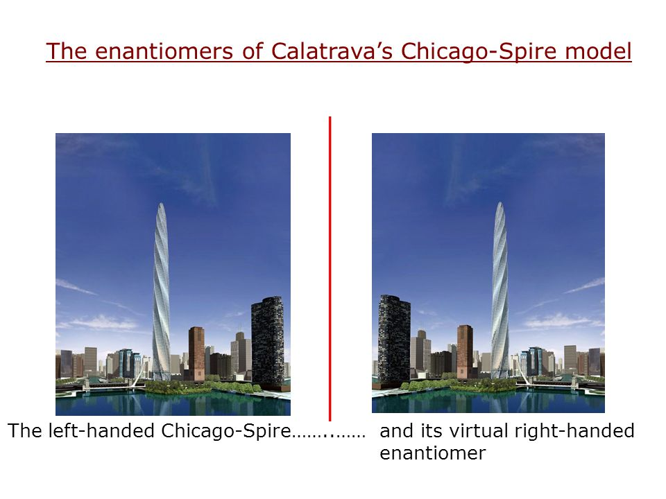 The enantiomers of Calatrava's Chicago-Spire model