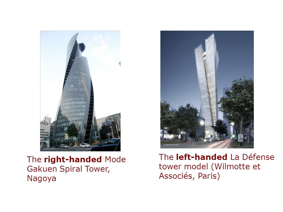 The left-handed La Défense tower model (Wilmotte et Associés, Paris)