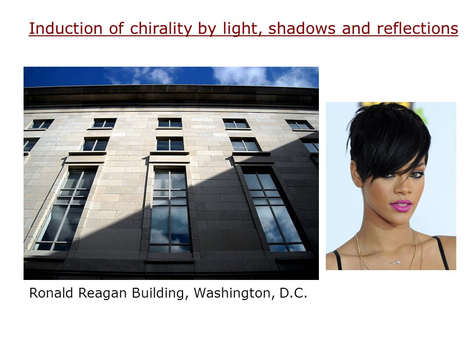 Induction of chirality by light, shadows and reflections