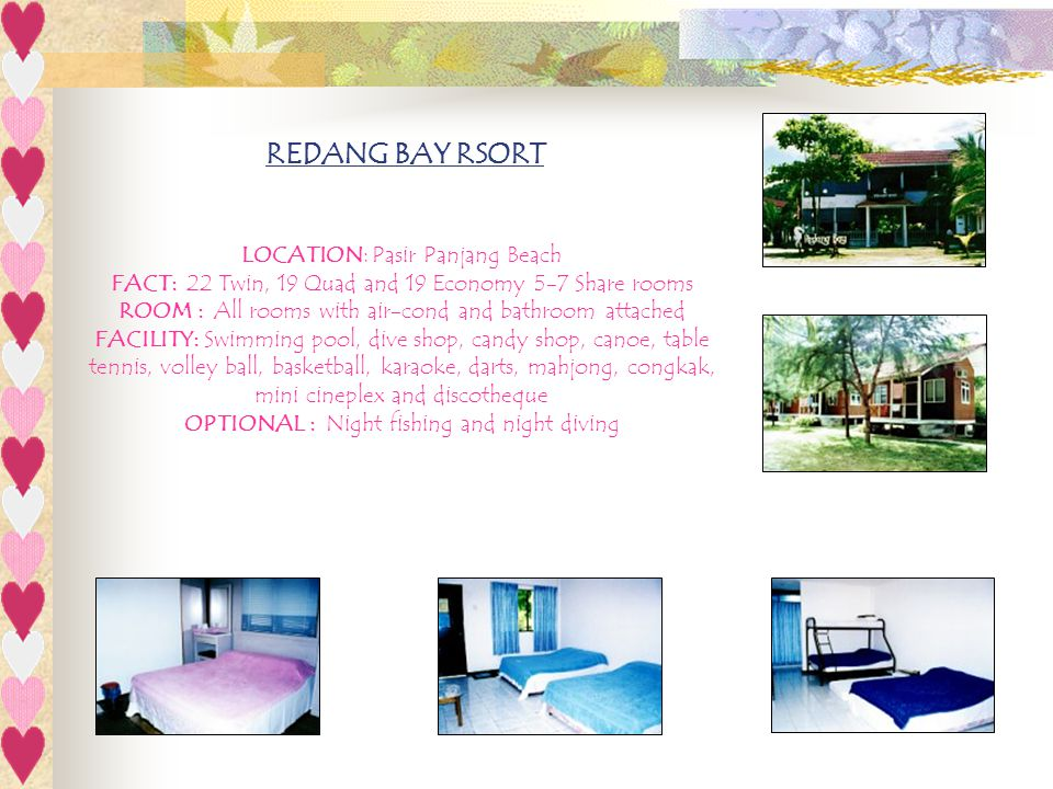 REDANG BAY RSORT LOCATION: Pasir Panjang Beach