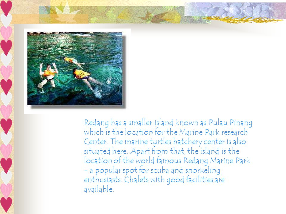 Redang has a smaller island known as Pulau Pinang which is the location for the Marine Park research Center.