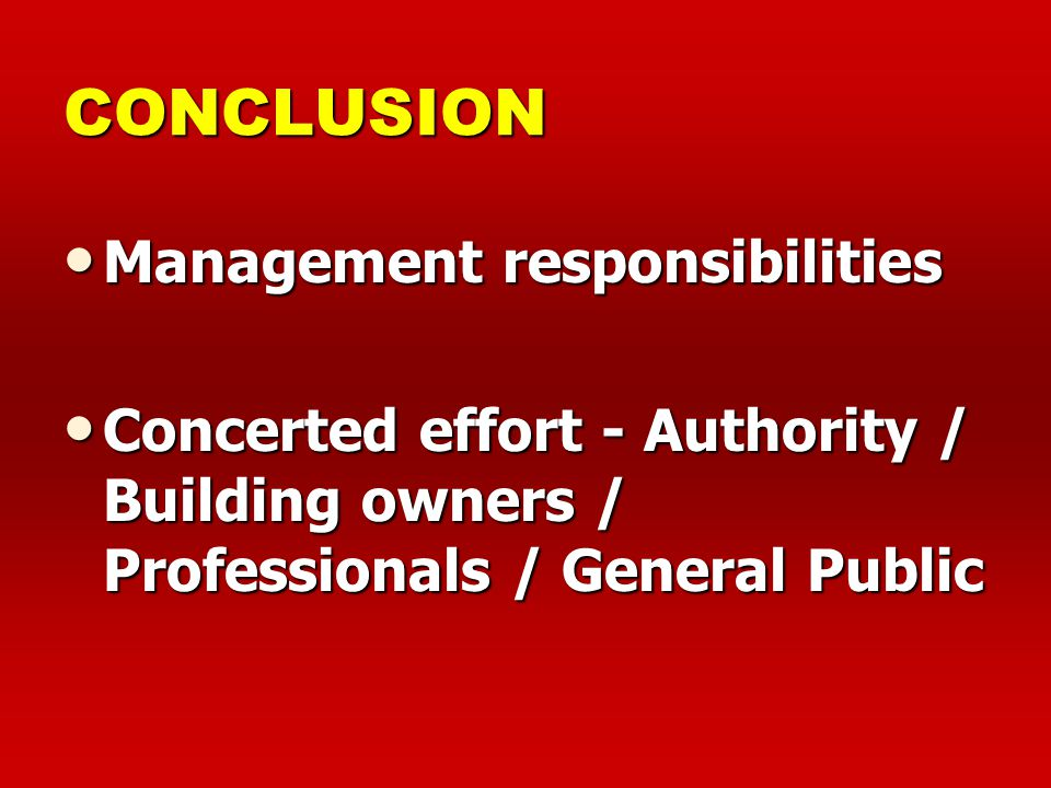 CONCLUSION Management responsibilities