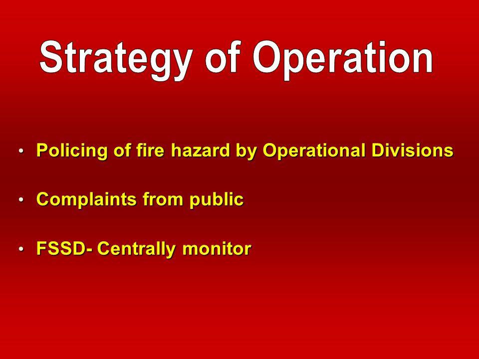 Strategy of Operation Policing of fire hazard by Operational Divisions