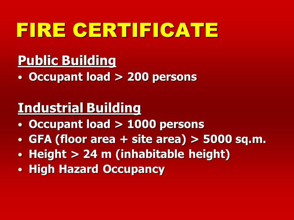 FIRE CERTIFICATE Public Building Industrial Building