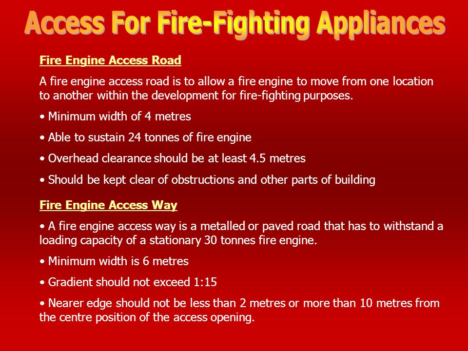 Access For Fire-Fighting Appliances