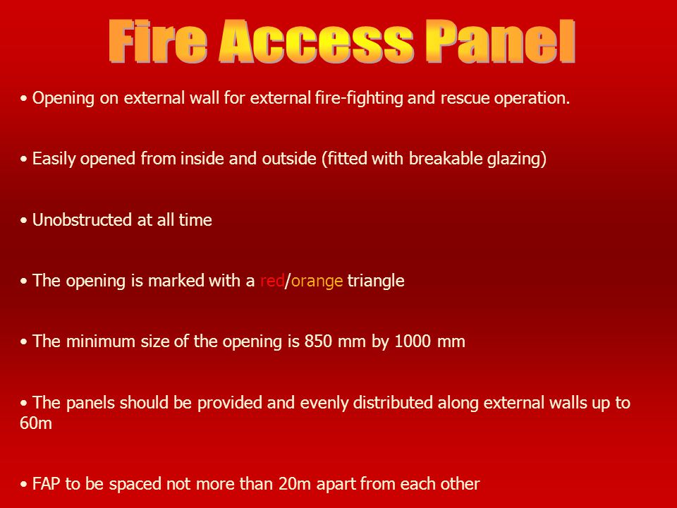 Fire Access Panel Opening on external wall for external fire-fighting and rescue operation.
