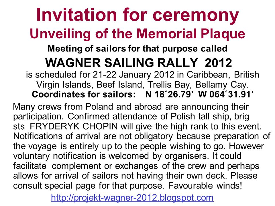 Invitation for ceremony Unveiling of the Memorial Plaque
