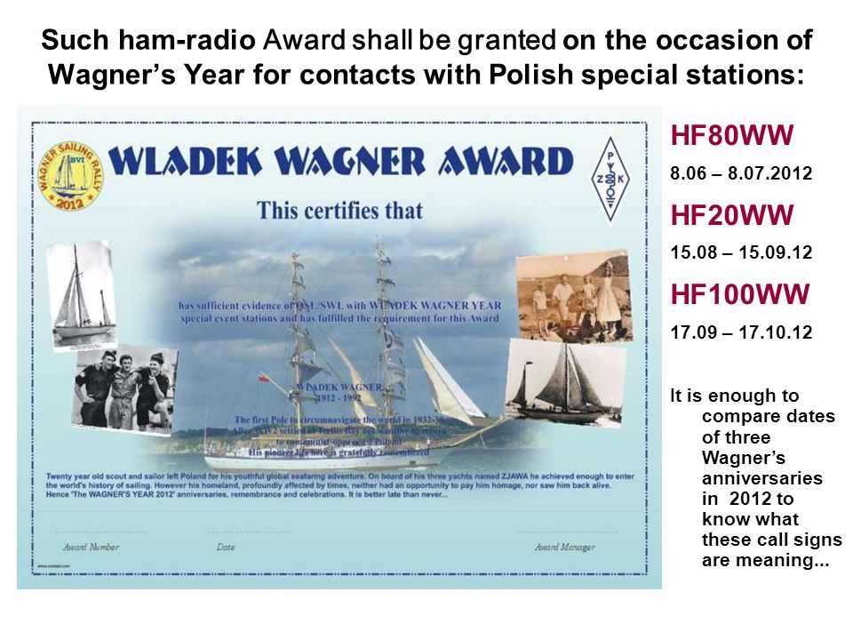 Such ham-radio Award shall be granted on the occasion of Wagner's Year for contacts with Polish special stations: