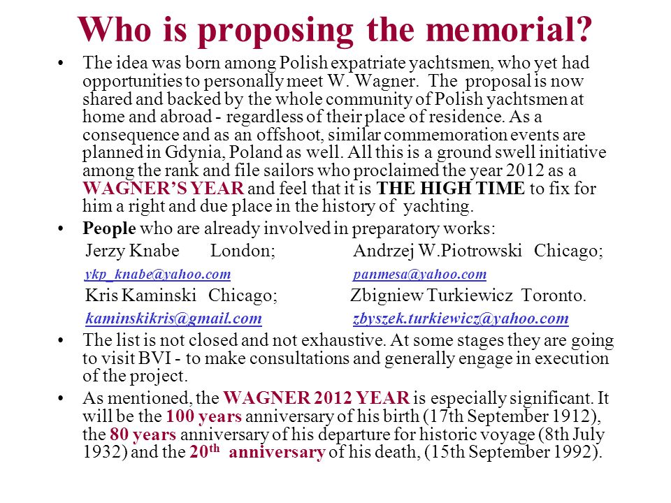 Who is proposing the memorial