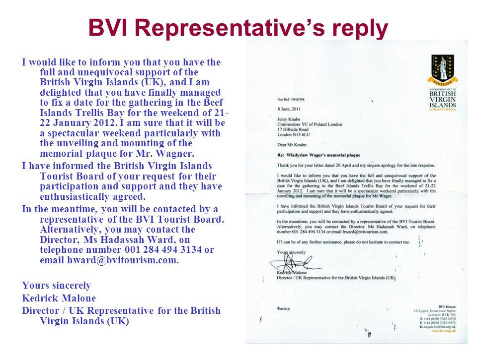 BVI Representative's reply