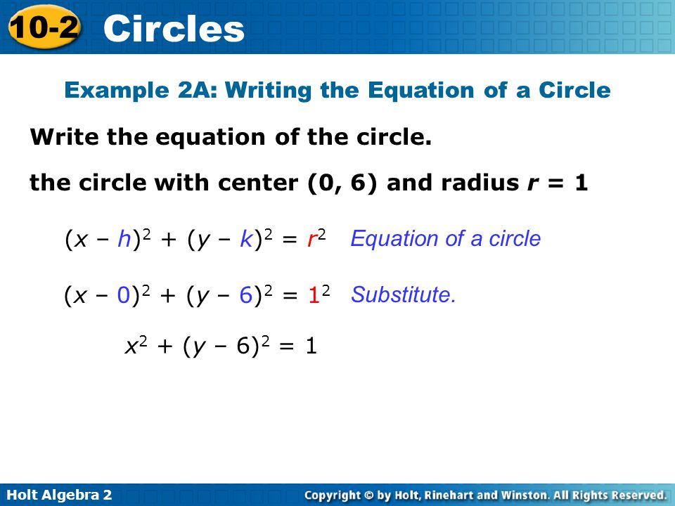 Example 2A: Writing the Equation of a Circle