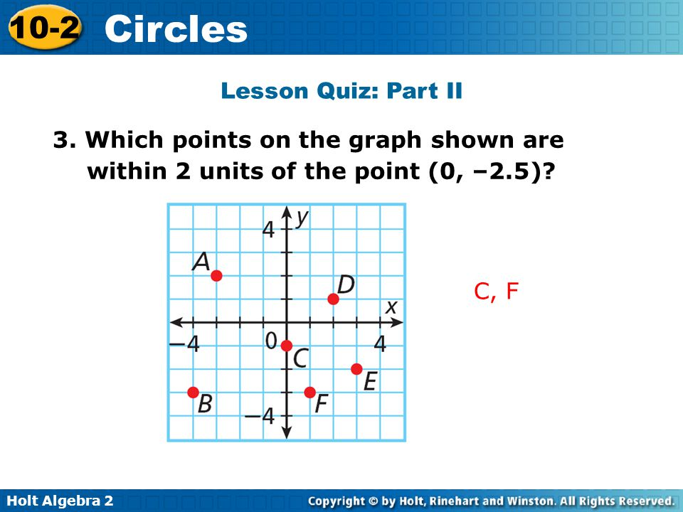 Lesson Quiz: Part II 3. Which points on the graph shown are within 2 units of the point (0, –2.5).